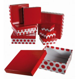 Gift Box White with Red Polka Dots Set of 8 - 22.5 x 22.5 x 8cm