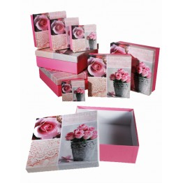 Gift Box Pink with Rose Design Set of 8 - 22.5 x 22.5 x 8cm