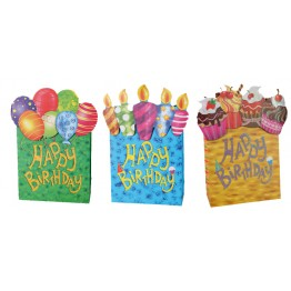"Gift Bag, ""Happy Birthday"" Asst - 180 x 80 x 240mm"