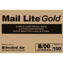 B/00 Mail Lite Gold / Brown Bubble Lined Envelopes 120 x 220mm - Box of 100