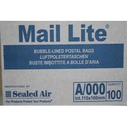 A/000 Mail Lite White Bubble Lined Envelopes 110 x 160mm - Box of 100