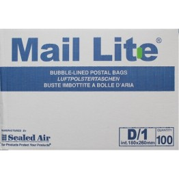 D/1 Mail Lite White Bubble Lined Envelopes 180 x 260mm - Box of 100