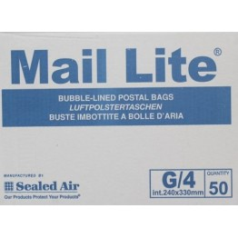 G/4 Mail Lite White Bubble Lined Envelopes 240 x 330mm - Box of 50