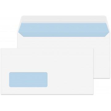 DL/Letter Size White Window 1000 Premium Envelopes 110mm x 220mm Peel & Seal 100gsm