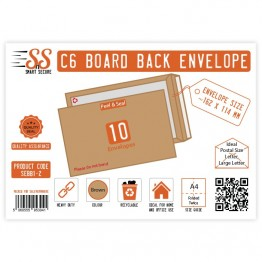 Board Back Manila / Brown Envelopes A6/C6, Pack of 10