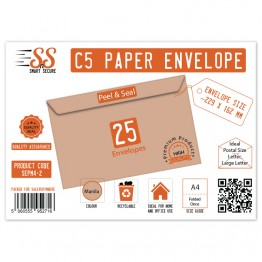 A5/C5 Manilla Premium Envelope 115gsm, Pack of 25