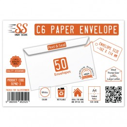A6/C6 White Premium Envelope 100gsm, Pack of 50