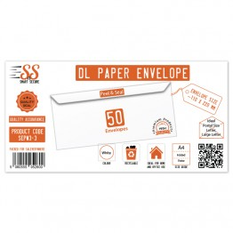 DL White Premium Envelope 100gsm, Pack of 50