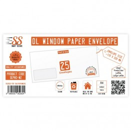 DL White Window Premium Envelope 100gsm, Pack of 25