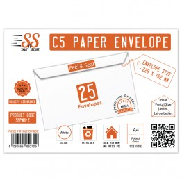 A5/C5 White Premium Envelope 100gsm, Pack of 25