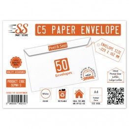 A5/C5 White Premium Envelope 100gsm, Pack of 50
