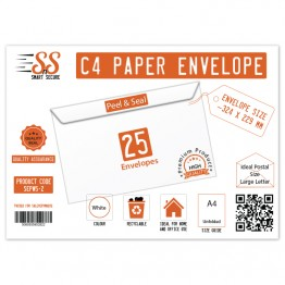 A4/C4 White Premium Envelope 100gsm, Pack of 25